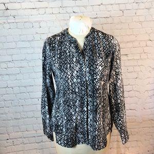 Snake skin print button down blouse